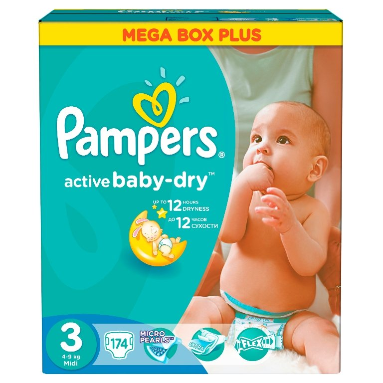 Подгузники Pampers Active Baby Midi (4-9 кг), 174 шт.